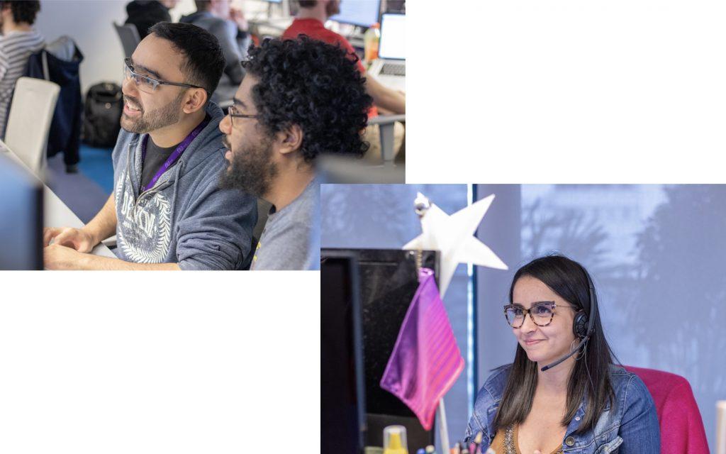 Cartão Nubank: foto mostra duas imagens da nossa equipe de atendimento ao cliente. EM uma imagem, dois rapazes olhando para a tela do computador. Na foto de baixo, uma jovem de óculos olha para a tela