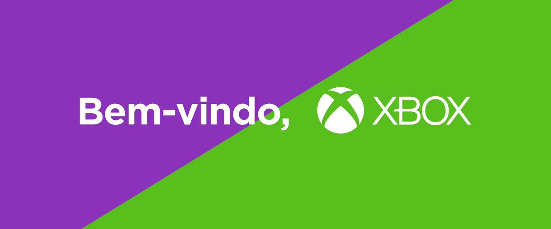 Imagem misturando o roxo do Nubank com o verde do Xbox, representando o início da parceria entre as duas empresas como benefício do Nubank Rewards, o programa de pontos do Nubank.