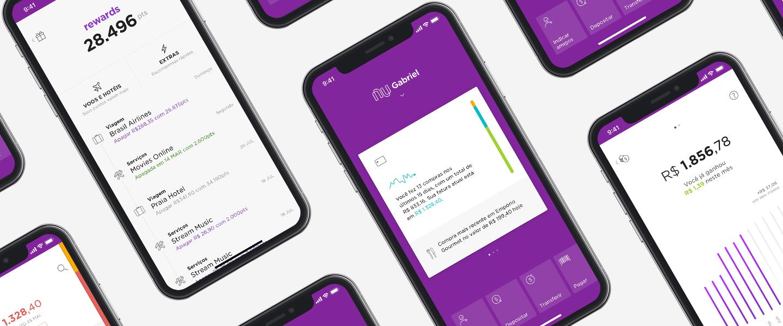 Telas do novo aplicativo Nubank em diferentes telefones