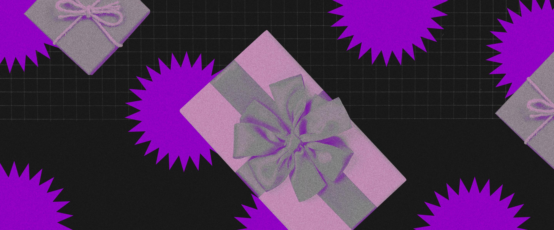 Presente de natal: Presente com pequenos fogos de artifício roxos