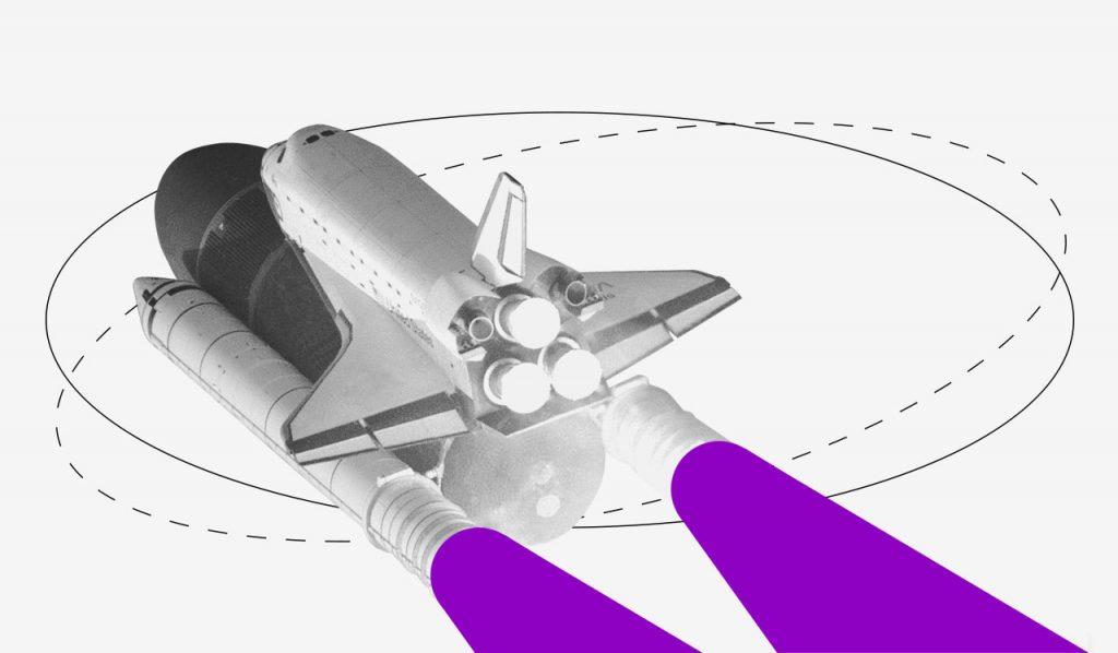Fintech: ilustração de uma nave espacial com jatos propulsores roxos.