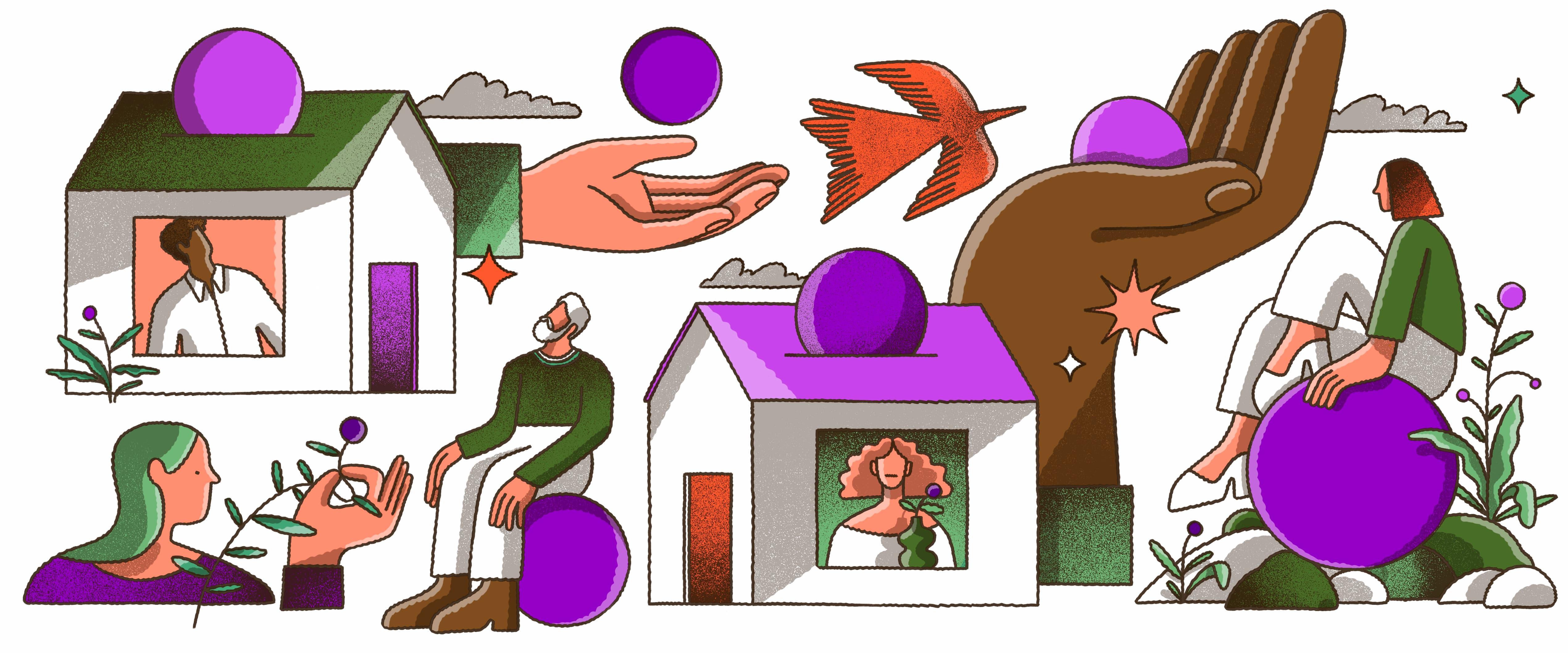 Ilustração que mistura vários elementos: duas casas, uma de telhado verde e outra de telhado roxo, cada uma com uma pessoa olhando pela janela e círculos roxos entrando pelo teto como se fosse uma moeda em um cofre; duas pessoas sentadas sobre círculos roxos; mãos segurando os círculos roxos; uma andorinha vermelha voando