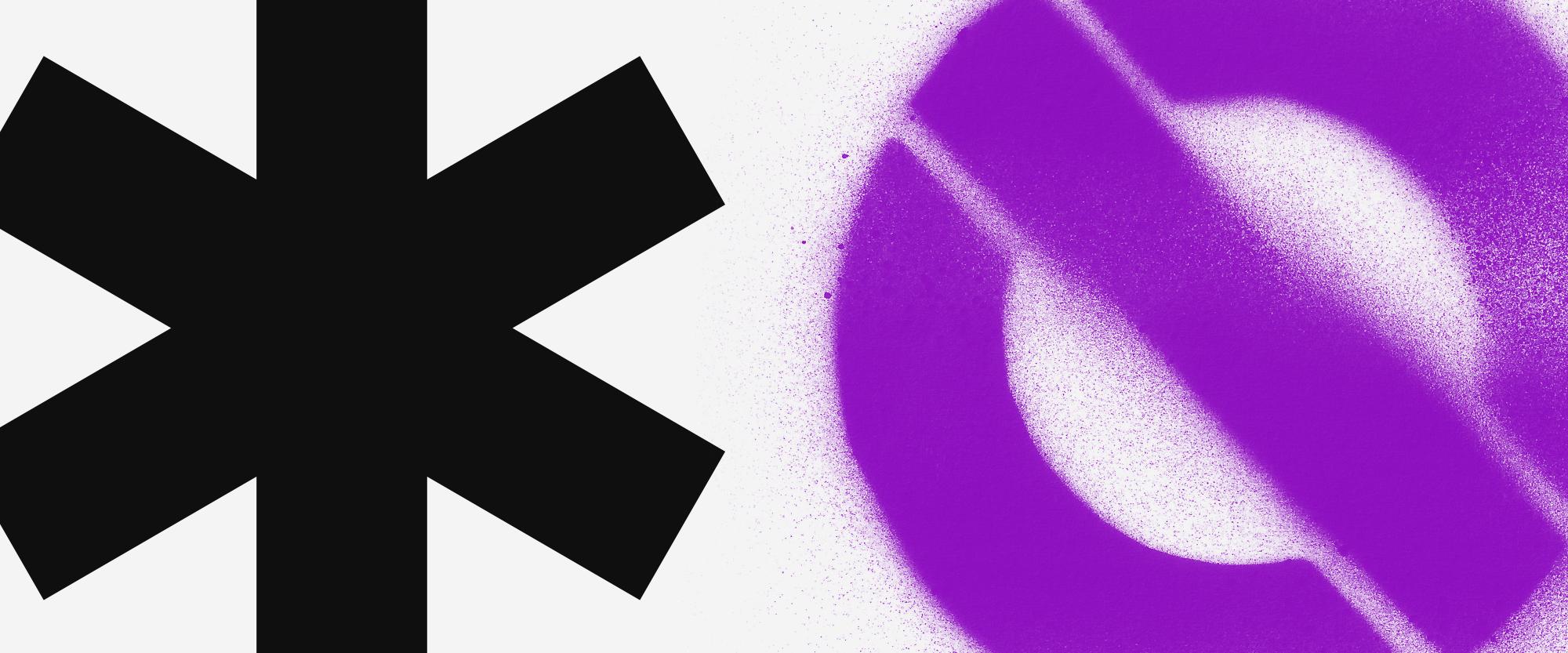 Imagem mostra um asterisco e um símbolo de pare, em roxo, pichado ao lado. O símbolo é um círculo com um risco no meio.