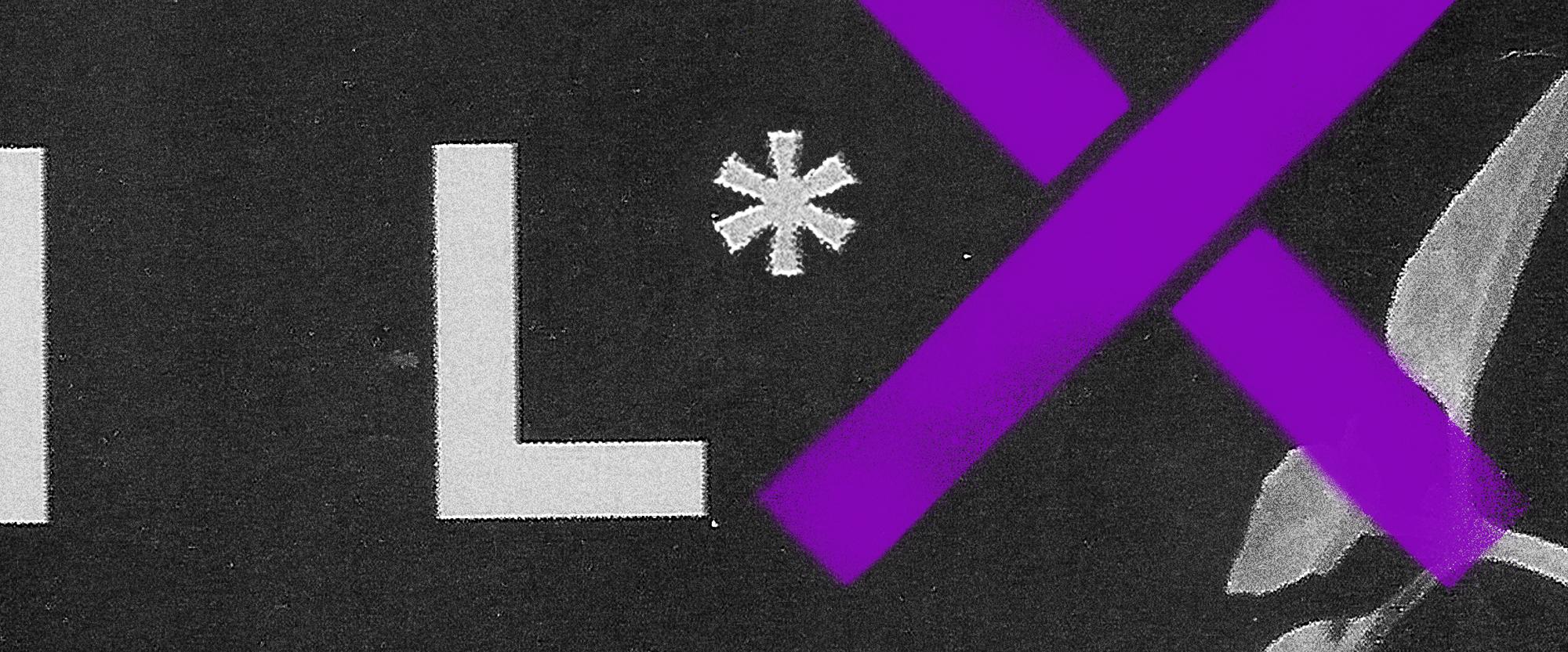 Fundo preto com sinais gráficos cinzas e roxos - como um asterisco e um x roxos