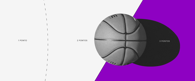 Programa de pontuação: uma bola de basquete sobre um fundo branco e roxo.