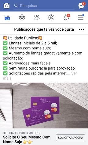 Print de um post feito no Facebook usando a marca do Nubank prometendo aprovação sem análise e limite pré-estabelecido.