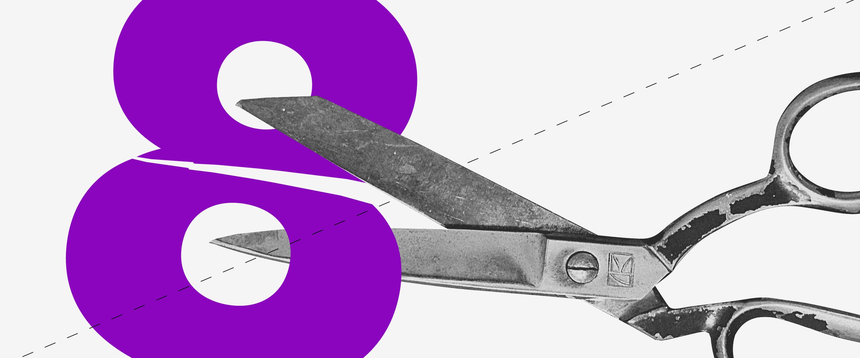 Alíquota: colagem traz uma tesoura em preto e branco cortando um número oito de cor roxa.