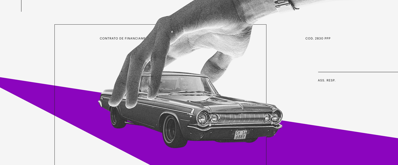 Empréstimo: em um fundo branco, uma colagem de uma mão segurando um carro antigo em uma trilha roxa.