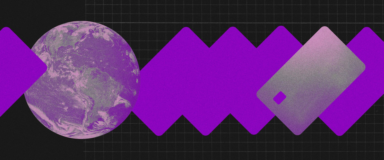 Um globo terrestre em tons de roxo conectado a um cartão para fazer compras