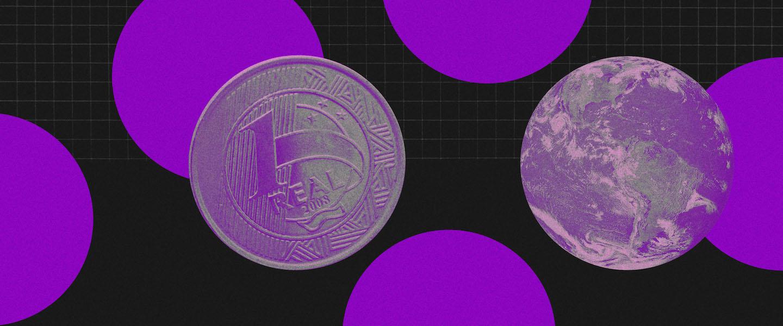 Orçamento de viagem: fundo preto com cinco grandes círculos roxos espalhados. Na frente, uma moeda de um real roxa e um globo terrestre roxo.