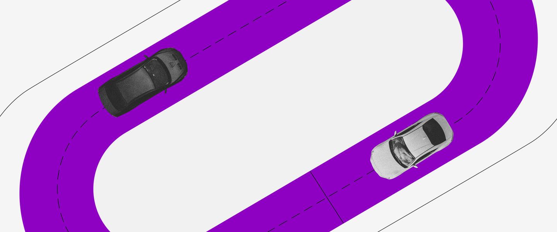 RDB: uma pista de carros de formato oval, roxa, e dois carros em preto e branco circulando por ela