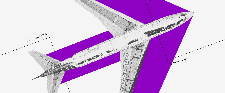 Portabilidade de salário: colagem de uma aeronave sobre uma seta roxa.