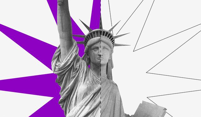 Dólar turismo e comercial: uma estátua da liberdade sobre uma estrela dividida ao meio - metade roxa, metade branca.