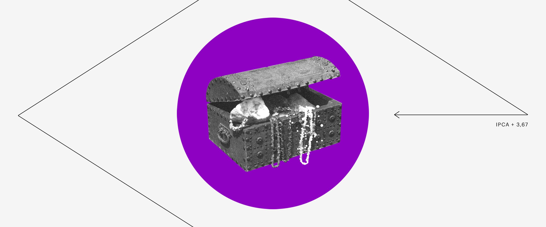Tesouro Direto: Um Tesouro com joias e outros itens dentro de um círculo roxo e com um losango ao seu redor.