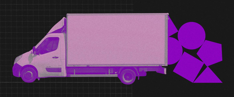 Morar sozinho: colagem de um caminhão de mudança branco deixando cair peças geométricas roxas num fundo preto.