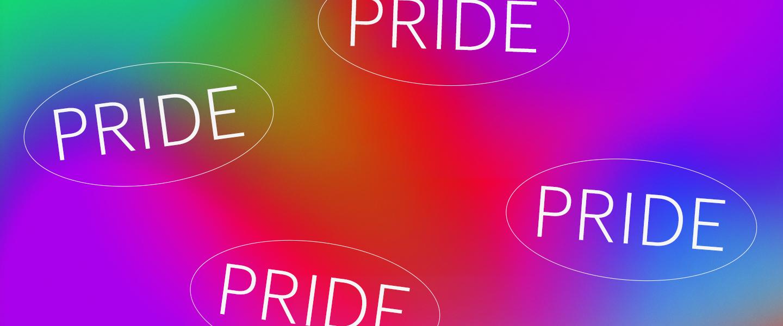 Imagem com fundo colorido e o escrito Pride (orgulho em português)