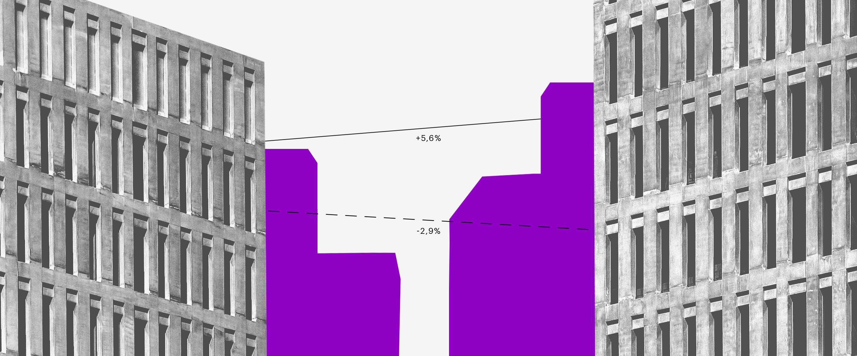 CDI: prédios em preto e branco com sombra roxa, um em frente ao outro, e algumas linhas ligando-os.