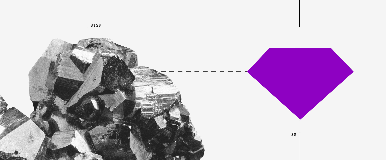 imagem abstrata de uma pedra bruta e, ao lado, uma figura roxa em formato de diamante