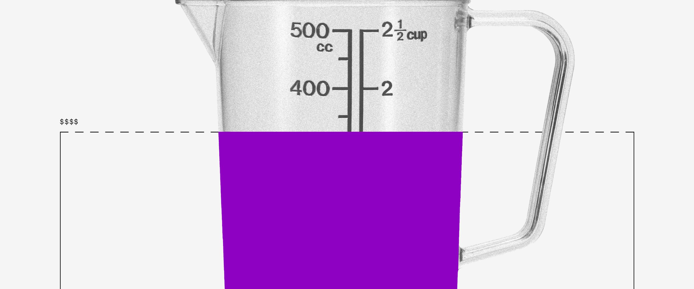 Cálculo do salário líquido: uma jarra com as medidas de mililitros cheia com um líquido roxo até a metade.