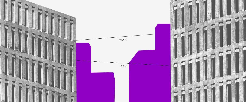 CDI 2019: ilustração roxa da silhueta de prédios aplicada sobre uma foto preto e branca de edifícios e fios pontilhados ligando os prédios