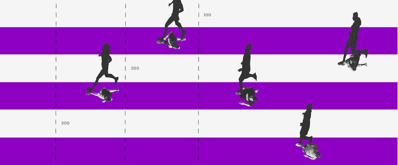 CDI diário: três pessoas correndo em uma pista de corrida com faixas roxas e brancas intercaladas.