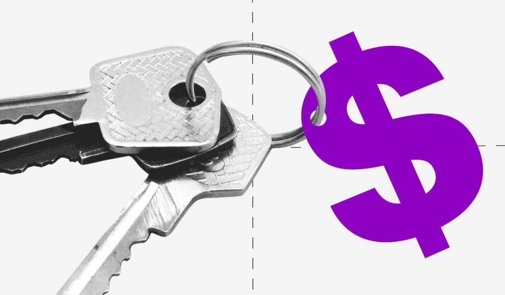 """Saque do FGTS: Um jogo de chaves em preto e branco com um """"chaveiro"""" de cifrão roxo."""