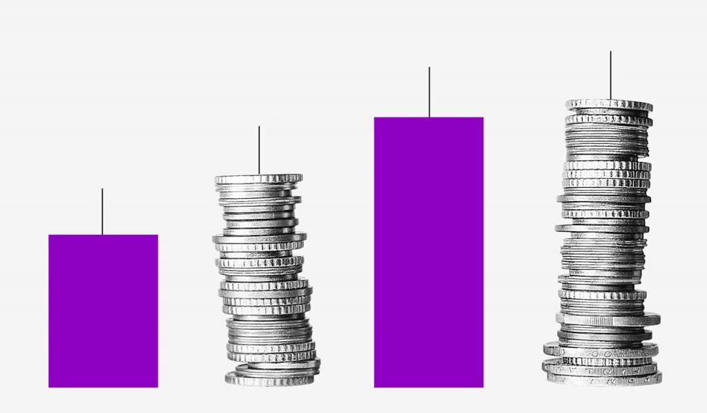 O que é PIB: fila de colunas roxas intercaladas por pilhas de moedas