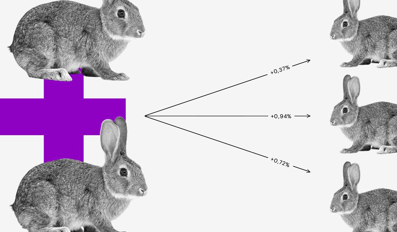 Selic e poupança: colagem de um coelho que se multiplica em outros três.