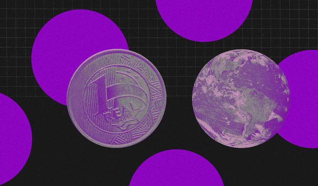 Fundo preto com círculos roxos e uma moeda de um real