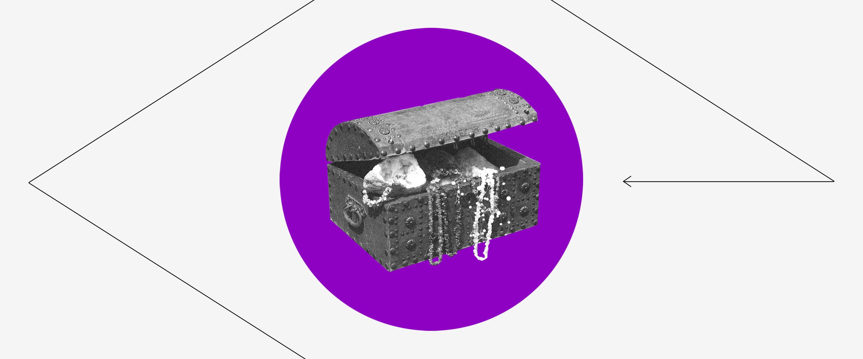 Tesouro Nacional: Um Tesouro com joias e outros itens dentro de um círculo roxo e com um losango ao seu redor.