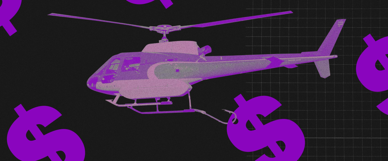 Black Friday: Helicoptero carregando um cifrão pendurado