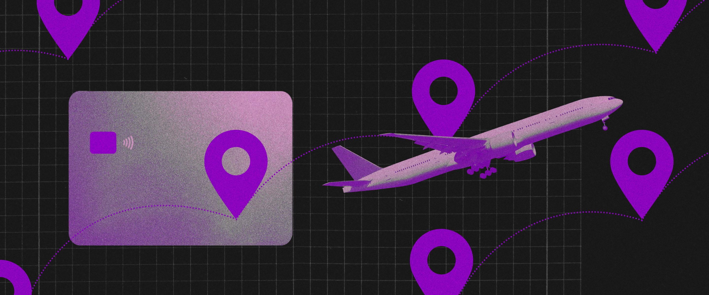 Programa de milhas: avião roxo voando em meio a pontos de localização