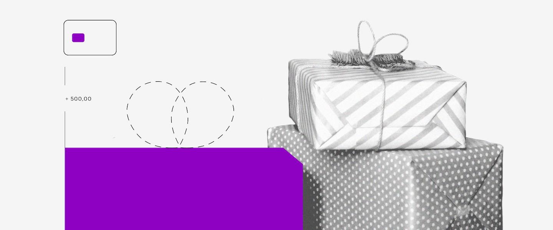 EPP: uma colagem em tons de roxo e branco com o desenho de um cartão de crédito e presentes ao lado.