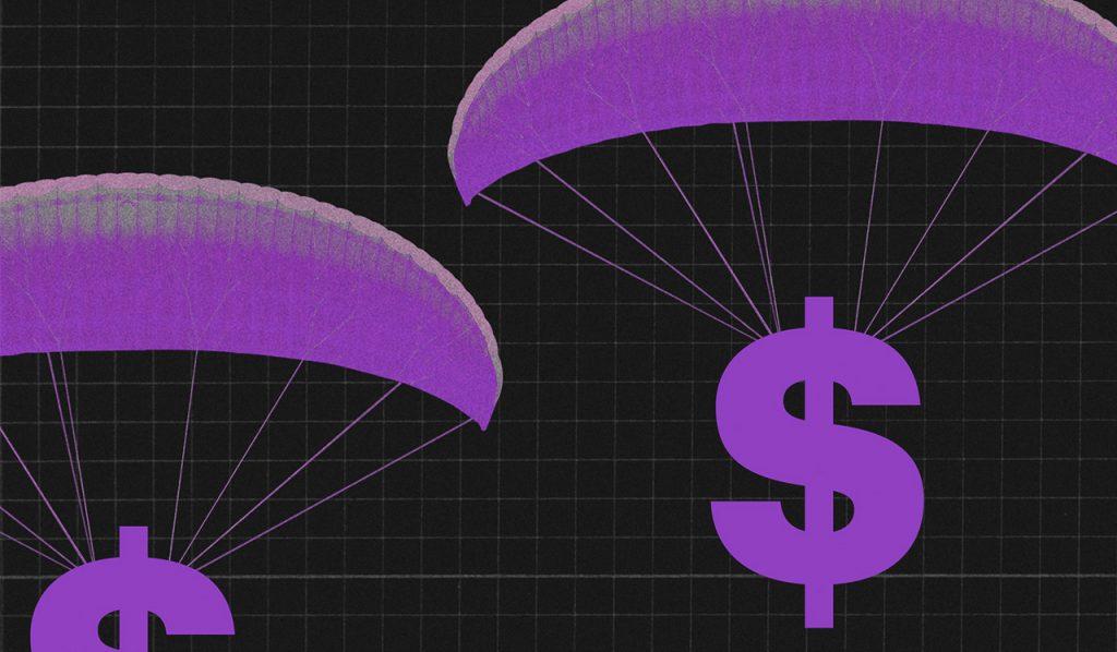 Cifrão roxo voando de paraquedas