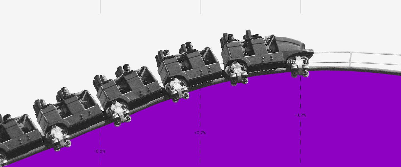Lucro Real: imagem mostra uma montanha russa roxa com vagões em preto-e-branco