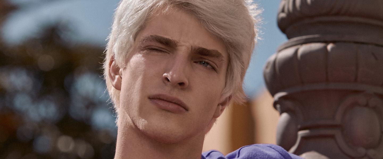 Nu Pagamentos S.A: foto de um jovem de pele branca, olhos azuis e cabelo louro platinado. Ele veste uma blusa roxa e está com uma expressão de dúvida.