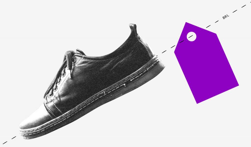 colagem de um sapato preto e branco com uma etiqueta roxa.