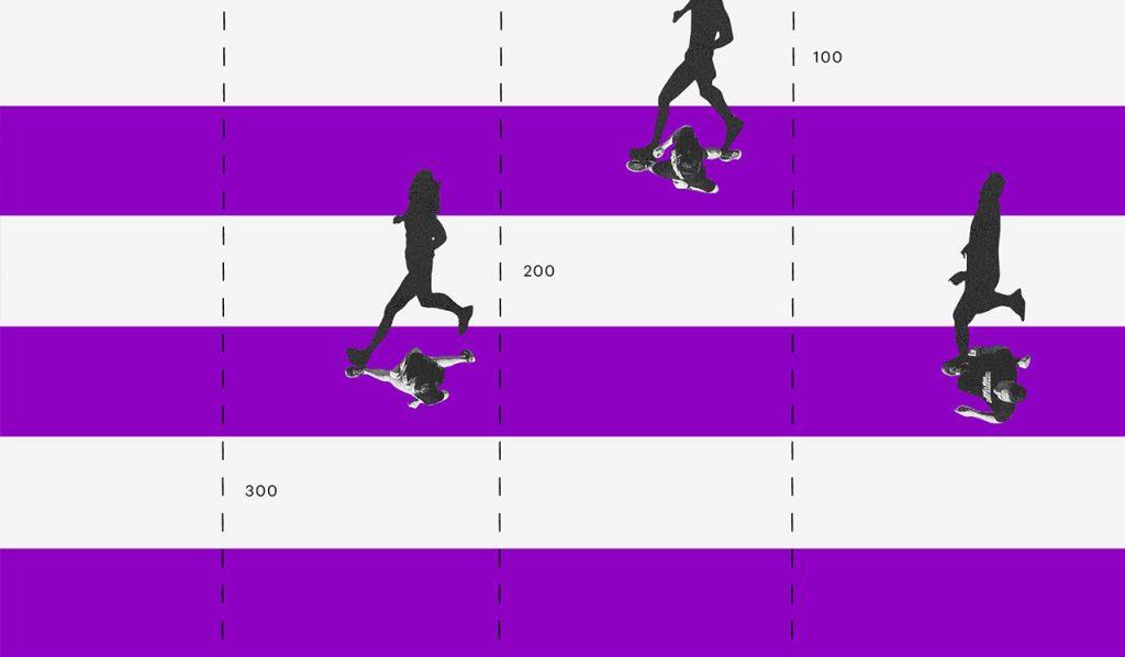 O que muda na reforma da previdência: ilustração de pessoas correndo numa pista de corrida com faixas brancas e roxas intercaladas.