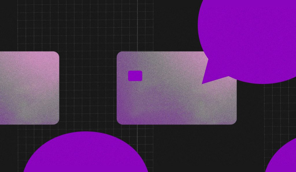 Ilustração mostra balões de fala ao redor de um cartão de crédito