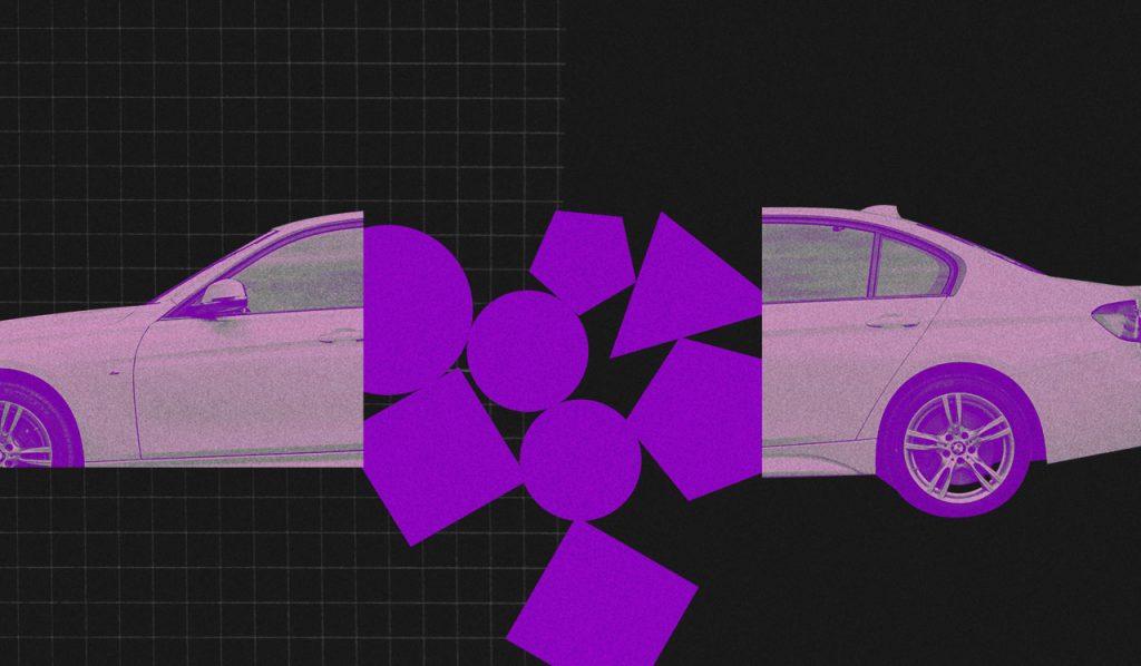 Consumismo: imagemde um carro partido ao meio com vários polígonos roxos caindo