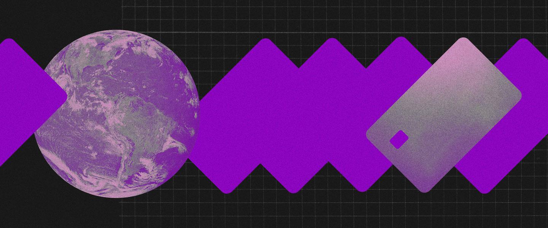 Free Shop: Um globo terrestre em tons de roxo conectado a um cartão para fazer compras
