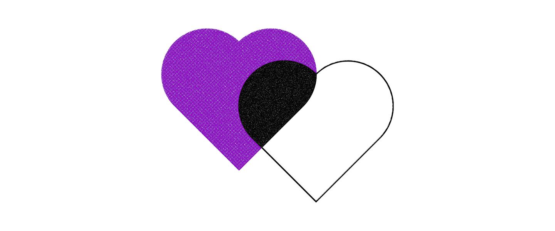 Dois corações, um roxo e outra branco, sobrepostos.