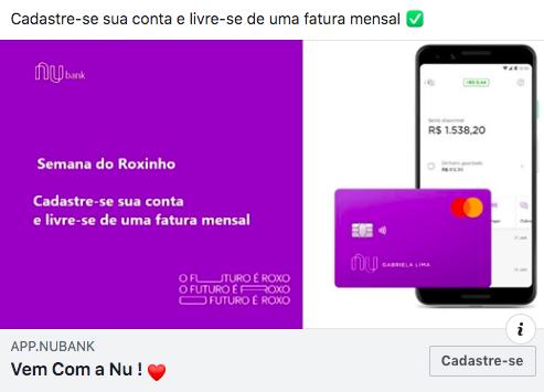Golpe Nubank: anúncio falso do cartão Nubank