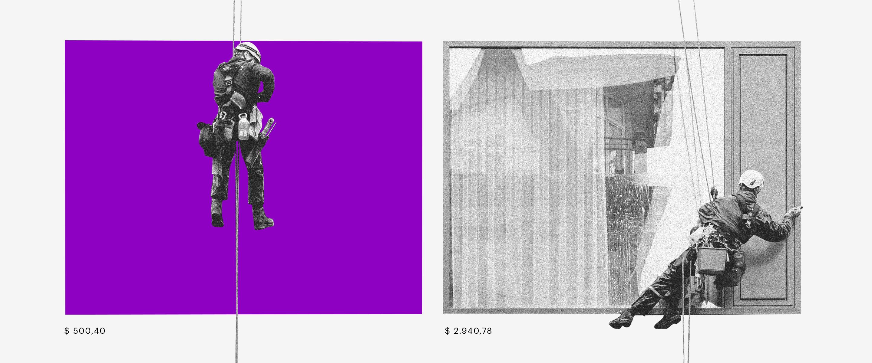 O que é autônomo: ilustração mostra dois profissionais descendo de corda perto das janelas de um edifício