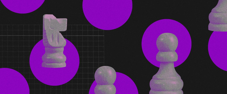 Como fazer uma retrospectiva: Fundo preto com várias bolas roxas. Dentro de algumas delas estão peças de xadrez em furta-cor, imitando um tabuleiro.