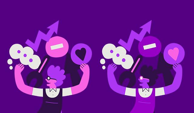Nubank 2019: no fundo roxo, ilustração de duas pessoas carregando símbolos como coração, setas e balões de fala.