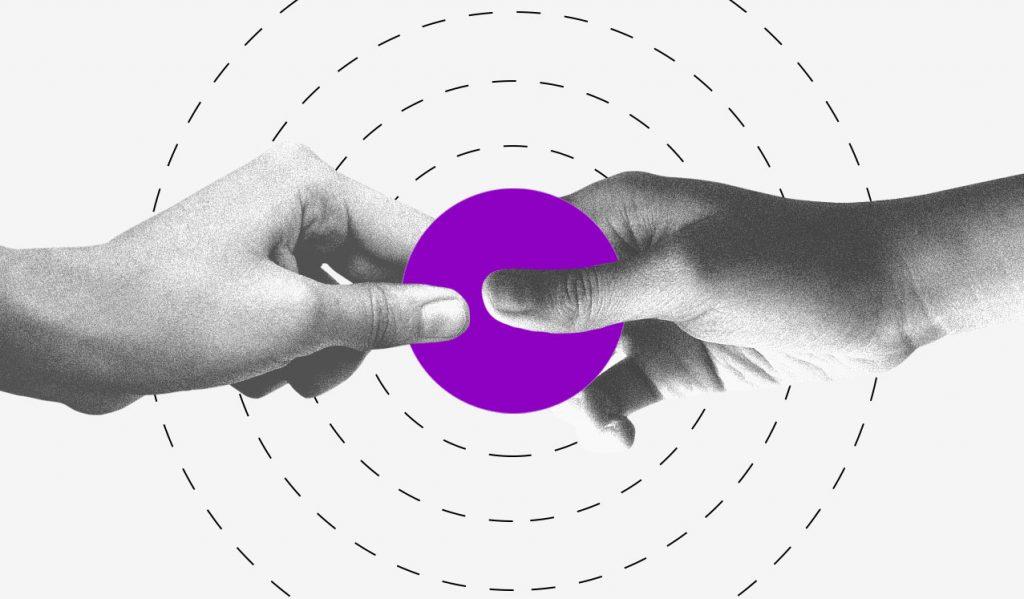 Renda extra: ilustração mostra duas mãos segurando um círculo roxo