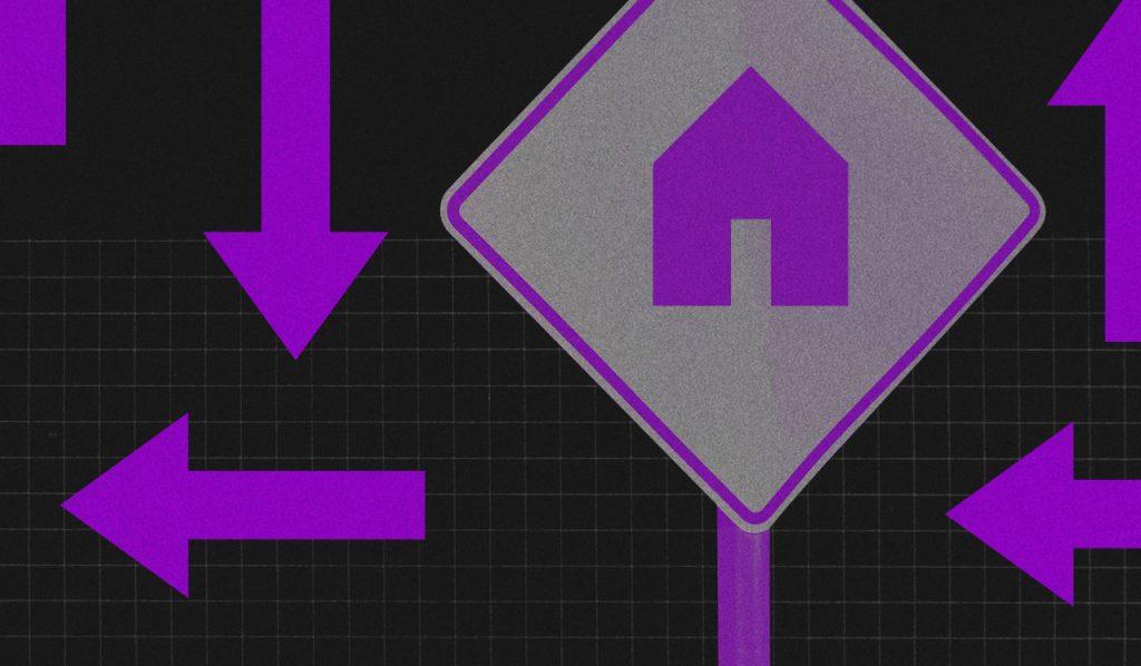 Morar junto: Fundo preto com uma placa de rua que mostra uma casa roxa. Ao redor dela há setas roxas apontando para diferentes direções