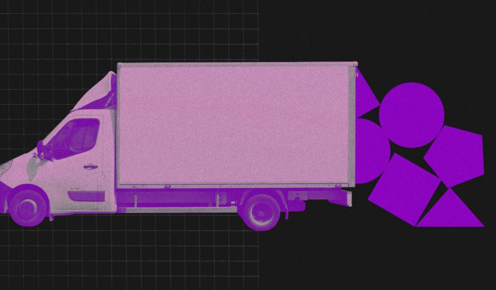 Morar junto: no fundo preto, colagem de um caminhão de mudança tingido digitalmente de roxo. Da caçamba do caminhão caem peças geométricas roxas.