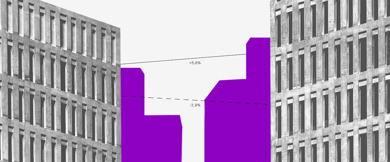 O que é CSLL: prédios em preto e branco com sombra roxa, um em frente ao outro, e algumas linhas ligando-os.